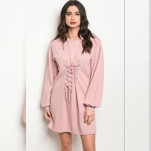 Dresses & Skirts - Longsleeve Lace up Cinch Waist Sweater Dress
